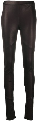 Isabel Benenato Mid-Rise Leather Leggings