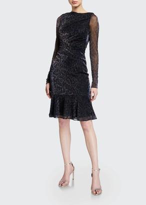 Talbot Runhof Metallic Voile Ruched Dress