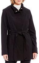 Preston & York Belted Stand Collar Zip Front Coat