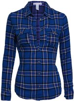 Hot From Hollywood Women's Classic Collar Button Down Long Sleeve Lightweight Plaid Flannel Shirt