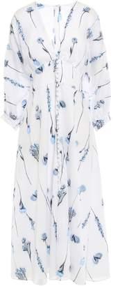 Lela Rose Floral Fil Coupe Striped Cotton-blend Midi Dress