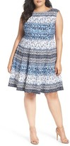 Gabby Skye Plus Size Women's Paisley Stripe Fit & Flare Dress