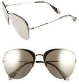 Miu Miu Women's 60Mm Semi Rimless Aviator Sunglasses - Gold/ Brown Mirror