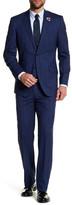 English Laundry Navy Blue Glenplaid Two Button Peak Lapel Wool Trim Fit Suit