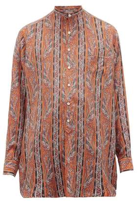Etro Longline Striped-paisley Silk Crepe De Chine Shirt - Mens - Orange Multi