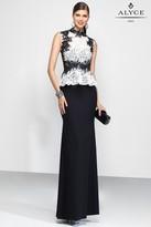 Alyce Paris Black Label - 5799 Long Dress In Black White
