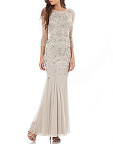 JS Collections Embroidered Beaded 3/4 Sleeve Gown