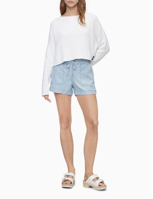 "Calvin Klein Chambray Drawstring Utility 4"" Shorts"