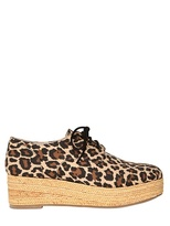 No Name 40mm Leopard Print Canvas &raffia Wedges