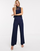 Chi Chi London lace overlay jumpsuit in navy