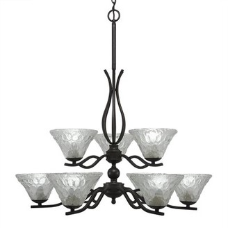 Hiroko 9 - Light Shaded Tiered Chandelier with Crystal Accents Red Barrel Studio