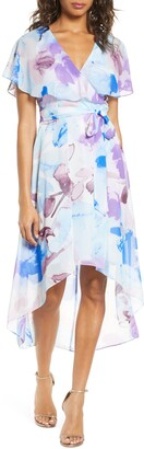 Eliza J Watercolor Floral Flutter High/Low Faux Wrap Dress