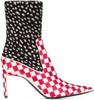 Haider Ackermann multi-print ankle boots