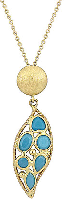 Italian Gold 18K Turquoise Leaf Pendant Necklace