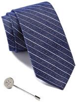 Ben Sherman Stripe Tie & Button Lapel Pin Box Set