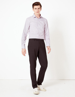 Marks and Spencer Slim Fit Easy Iron Striped Shirt with Stretch