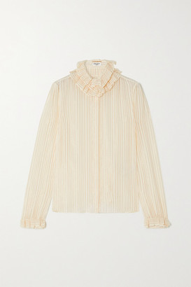 Saint Laurent Ruffled Striped Metallic Silk-blend Shirt - White