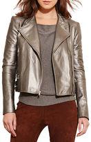 Lauren Ralph Lauren Enricua Metallic Leather Moto Jacket