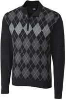 Cutter & Buck Black Argyle Blackcomb Half-Zip Silk-Blend Pullover - Big & Tall