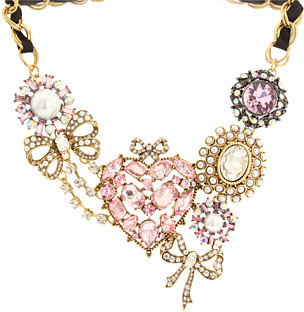 Betsey Johnson Cupid's Arrow Pave Heart Necklace