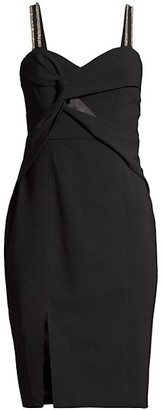 Parker Black Lazaro Embellished Twist-Front Dress