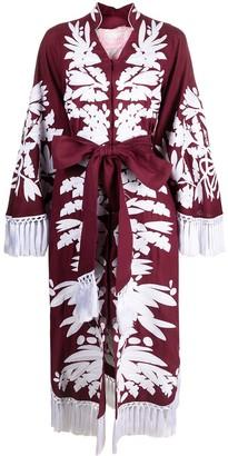 Yuliya Magdych Olives embroidered long dress