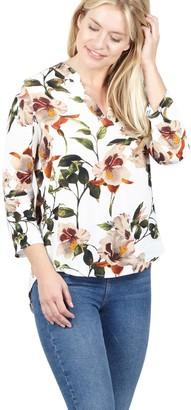 M&Co Izabel floral collarless blouse