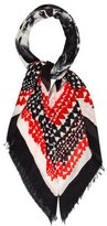 Stella McCartney Fray-Accented Printed Scarf