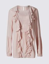 Marks and Spencer Ruffle Front Long Sleeve Blouse