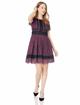 Eliza J Women's Lace Fit and Flare Dress Grey 6