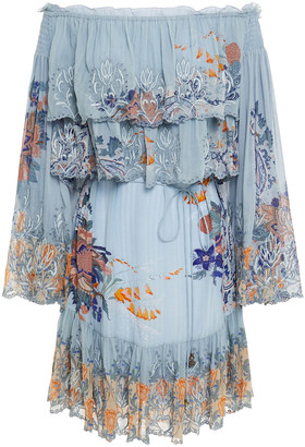 Camilla Off-the-shoulder Tiered Printed Georgette And Silk Crepe De Chine Mini Dress