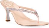 Rene Caovilla Kitten-Heel Crystal Thong Sandals