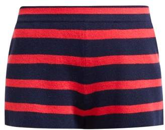 Barrie Summer Vibration Striped Cashmere Shorts - Womens - Navy Multi