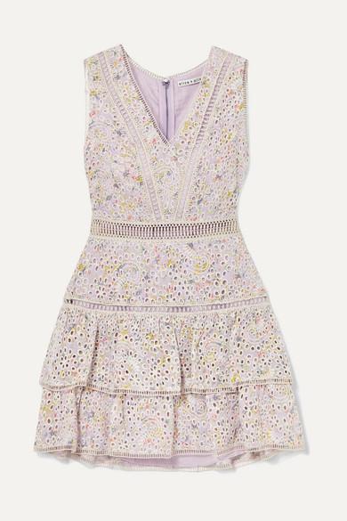 Alice + Olivia Alice Olivia - Tonie Tiered Printed Broderie Anglaise Modal Mini Dress - Lilac
