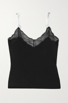 Calvin Klein Underwear Lace-trimmed Stretch Cotton And Modal-blend Jersey Camisole
