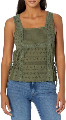 Lucky Brand Women's Sleeveless Mixed Media Tie Tank Top
