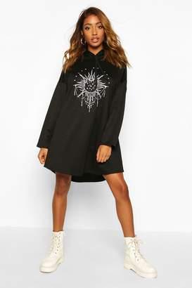 boohoo Solar Graphic Hooded Swing Sweatshirt Dress