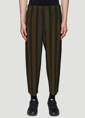 Issey Miyake Homme Plissé Striped Pleated Pants in Brown