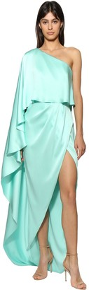 RALPH & RUSSO One Shoulder Silk Satin Dress