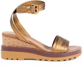 See by Chloe Robin Metallic Leather Platform Wedge Sandals