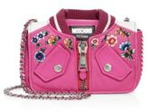 Moschino Embroidered Leather Jacket Shoulder Bag