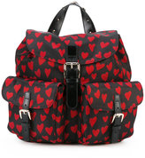 RED Valentino heart print flap backpack - women - Polyester - One Size