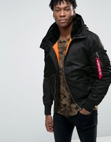 Alpha Industries Ma-1 Bomber Jacket With Hood In Regular Fit Black