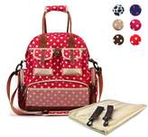 Hoxis Multifunction Polka Dots Baby Boom Backpack Diaper Bag (Upgraded Version Red)