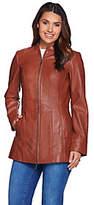Denim & Co. Lamb Leather Petite Stand Collar Jacket w/ Seam Details