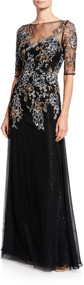 Rickie Freeman For Teri Jon Metallic Floral Embroidered Elbow-Sleeve Overlay Gown