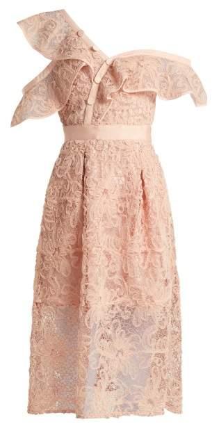 Self-Portrait Self Portrait Asymmetric Floral Lace Midi Dress - Womens - Light Pink