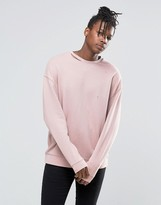 Asos Oversized Sweatshirt With Ripped Neck In Pink