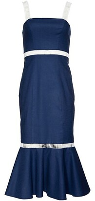 STAUD Lychee Lace Eyelet-Trim Flounce Sheath Dress