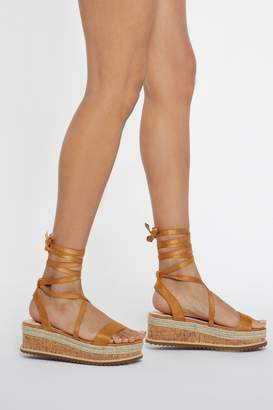Nasty Gal Womens Pull It Together Cork Wrap Wedges - Beige - 3